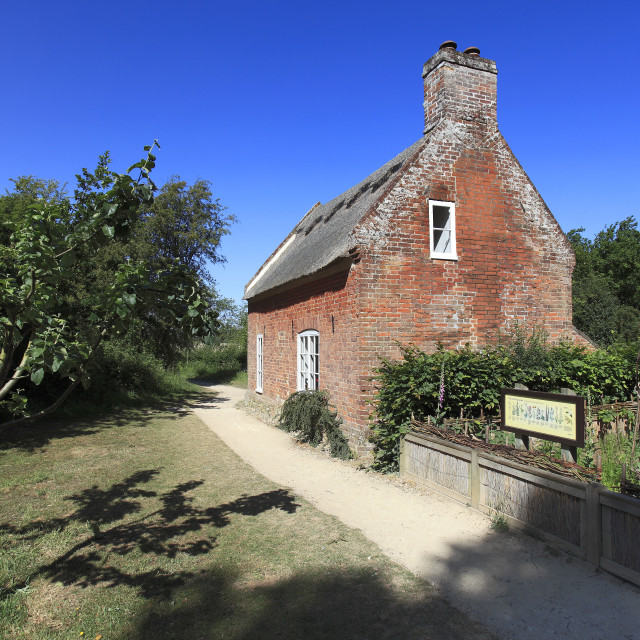 """Summer view of Toad Hole Cottage, How Hill Staithe; Norfolk Broads National..."" stock image"