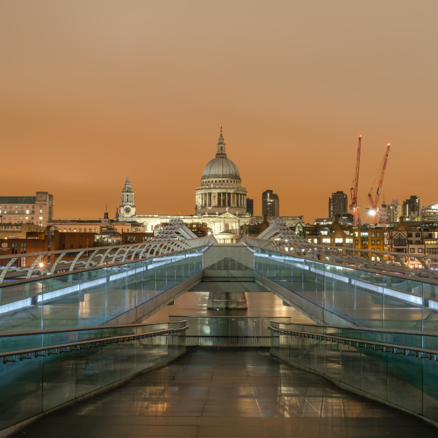 """St Paul's view from the end of a Bridge"" stock image"