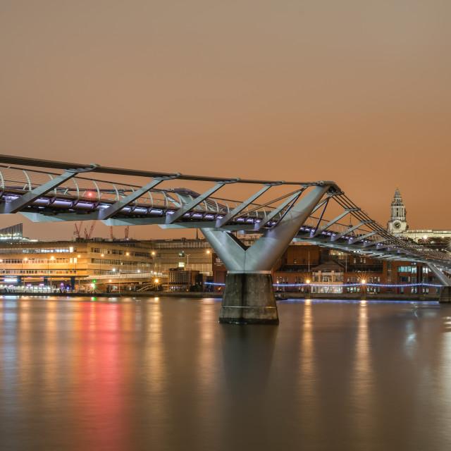 """St Paul's with an Orange lit Sky"" stock image"