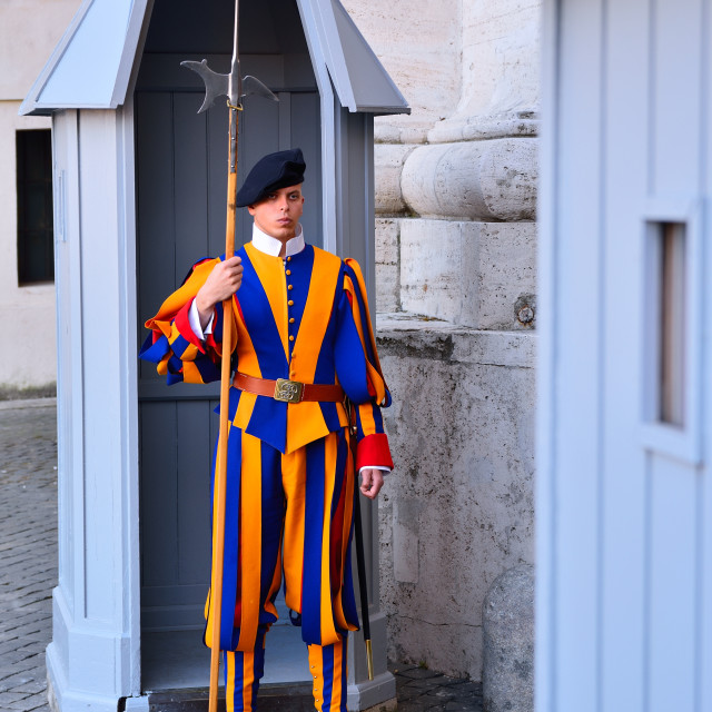 """Swiss Guard in their traditional uniform."" stock image"