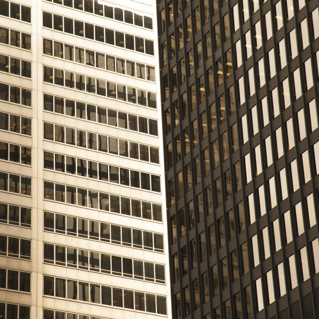 """Golden modern glass skyscrapers"" stock image"