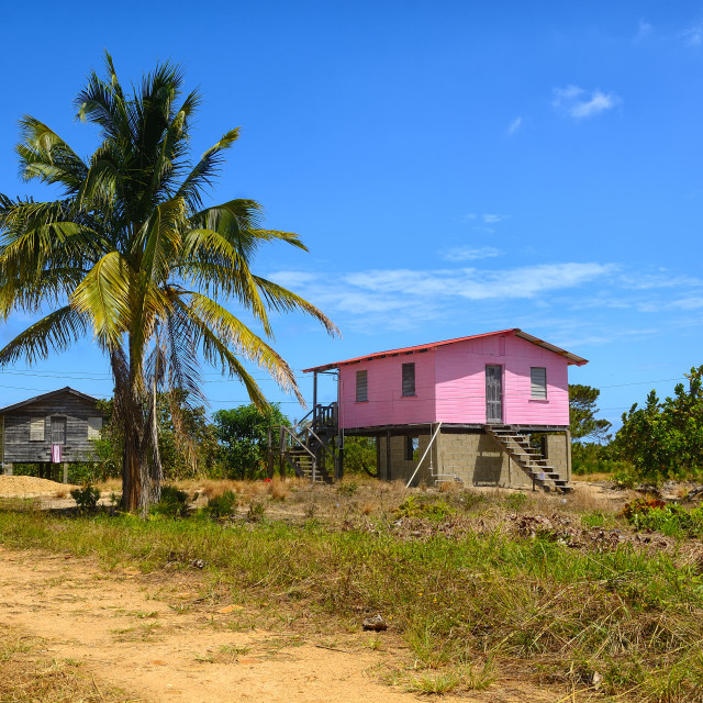 """Wooden Pink House"" stock image"