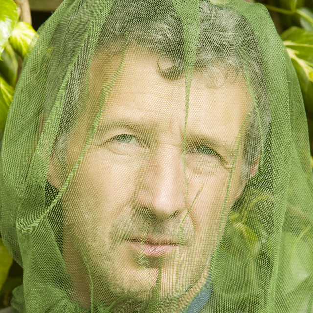 """""""a man wearing a mosquito net"""" stock image"""