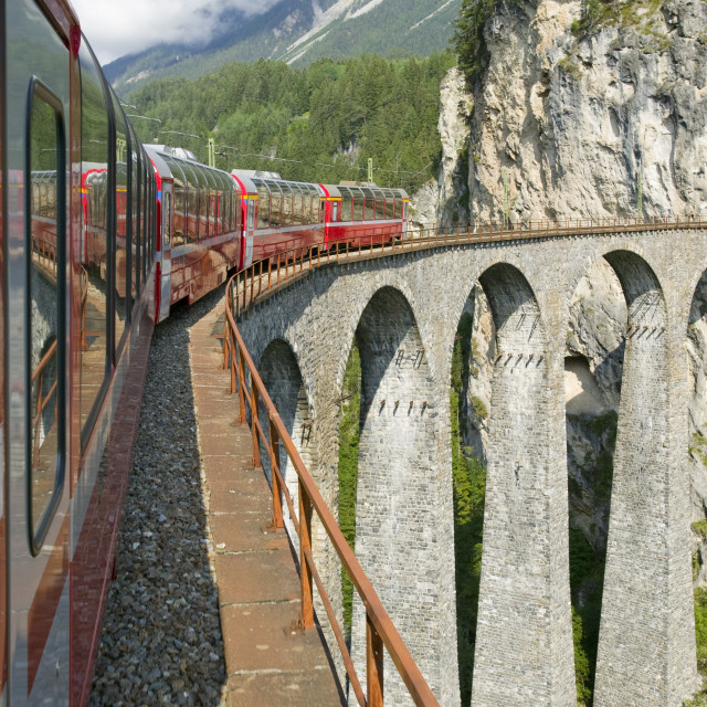 """""""the Bernina Glacier express that goes from Chur in Switzerland to Tirano in..."""" stock image"""