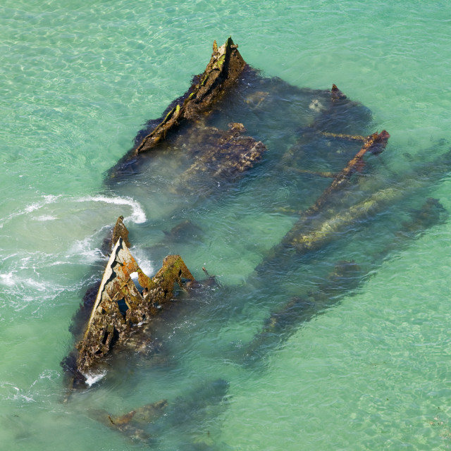 """A shipwreck at Hells Mouth near Cambourne Cornwall UK"" stock image"