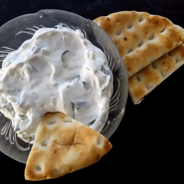 """Fresh Greek Tzatziki and Pita Bread"" stock image"