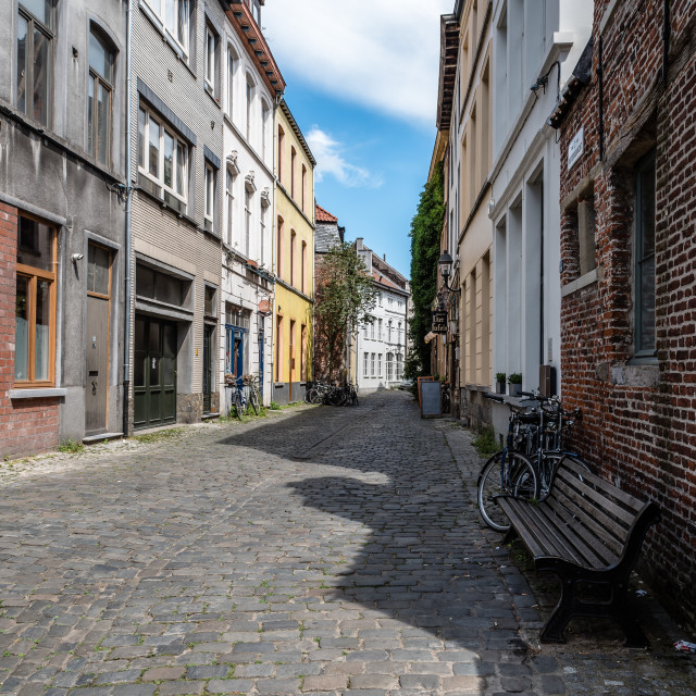 """Empty street in historical city centre of Ghent"" stock image"