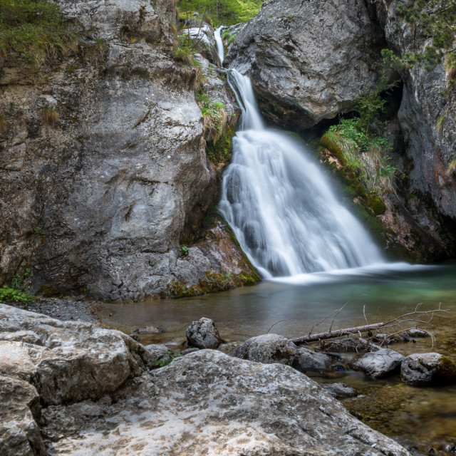 """""""Waterfall in Olimp Mountains"""" stock image"""