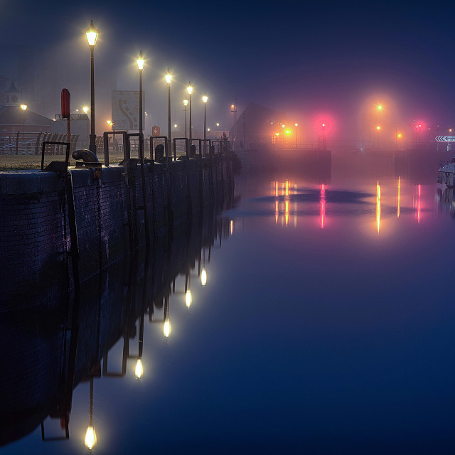 """""""Misty Swansea Marina"""" stock image"""