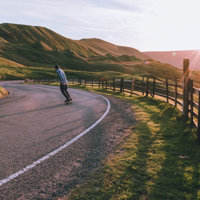 """""""Skating into the Sunset"""" stock image"""
