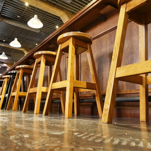 """Wooden bar stools"" stock image"