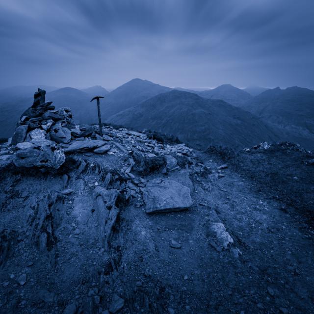 """Beinn an Lochain Summit Mono"" stock image"