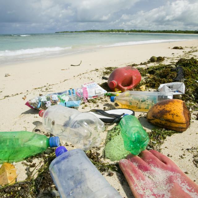 """""""Plastic rubbish washed up on Nantandola Beach on Fiji"""" stock image"""