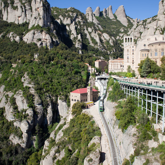 """Montserrat Mountains Rack Railway in Catalonia"" stock image"