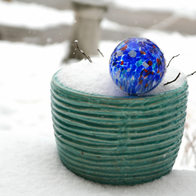 """Flower pot in snow"" stock image"