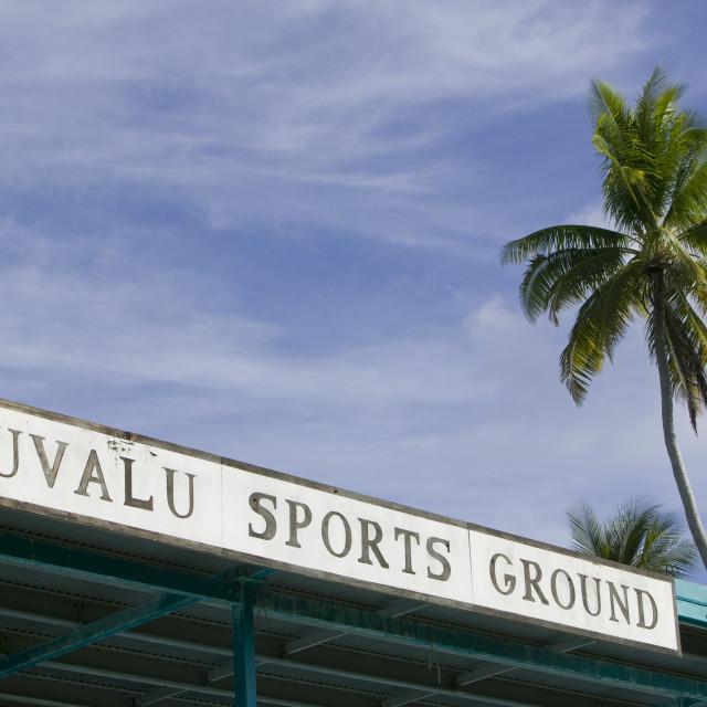 """The football stadium on Funafuti in Tuvalu"" stock image"