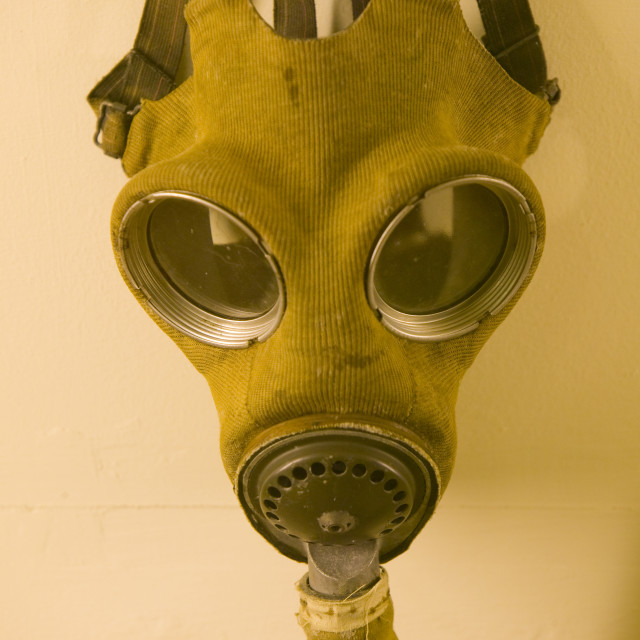 """A gas mask at the Muckleborough collection in Norfolk UK"" stock image"