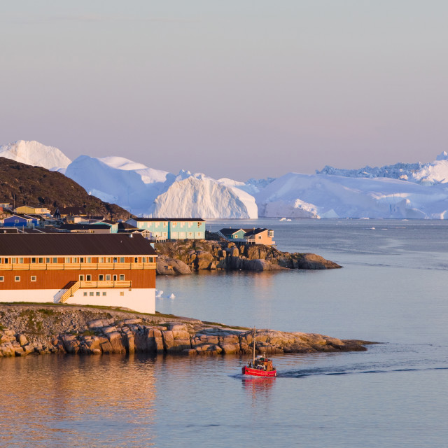 """Colourful houses in Illulisat in the midnight sun on Greenland. Ilulissat is..."" stock image"