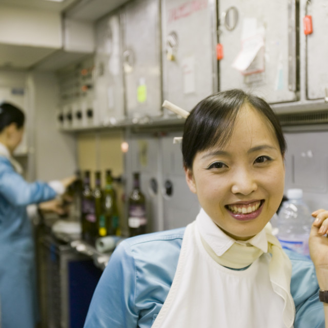 """""""The galley of an Air korean flight"""" stock image"""