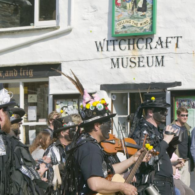 """Hunters Moon Morris group from Essex dancing in Boscastle Cornwall"" stock image"