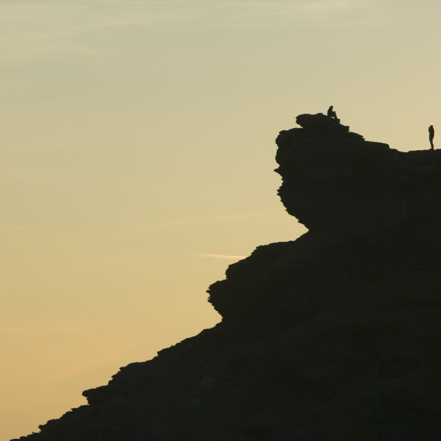 """""""A man on the cliff tops at Boscastle in cornwall UK"""" stock image"""