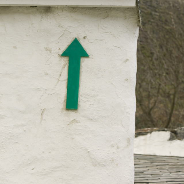 """""""A marker showing the height of the disastrous 2004 floods in Boscastle..."""" stock image"""