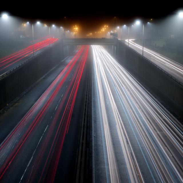 """Foggy Winter Traffic"" stock image"