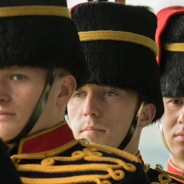 """""""The King's Troop, Royal Horse Artillery troopers"""" stock image"""
