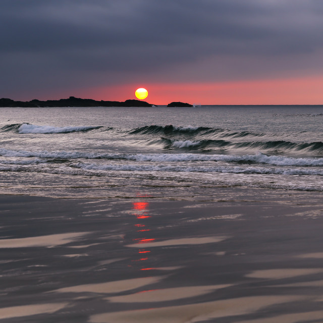 """St Ives Sunset on Porthmeor Beach Cornwall"" stock image"