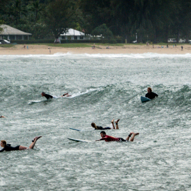"""Surfers in Hanalei bay"" stock image"