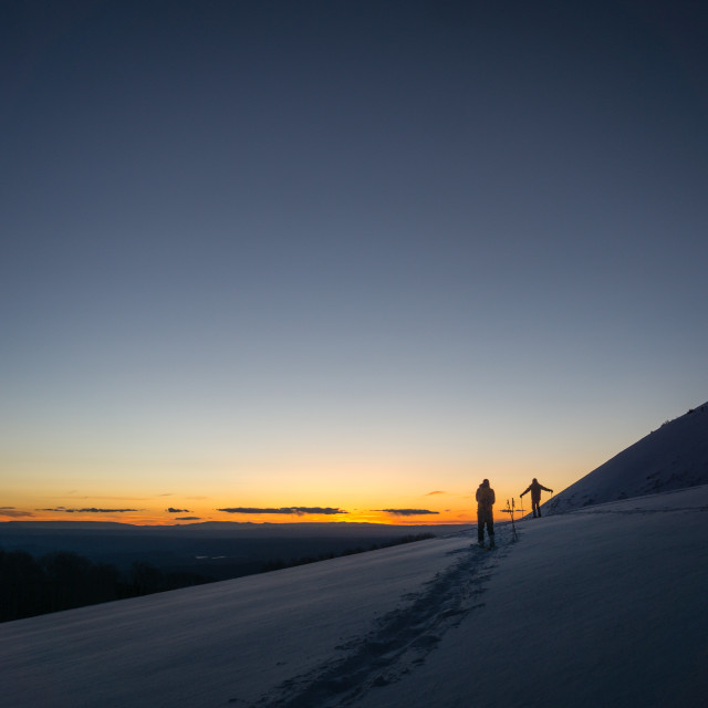 """""""Back Country Skiing in the La Sal Mountains, Utah."""" stock image"""