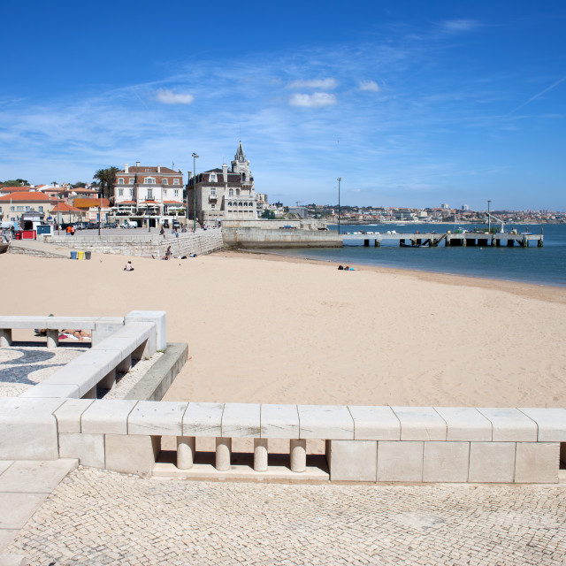 """""""Beach and Promenade in Cascais in Portugal"""" stock image"""