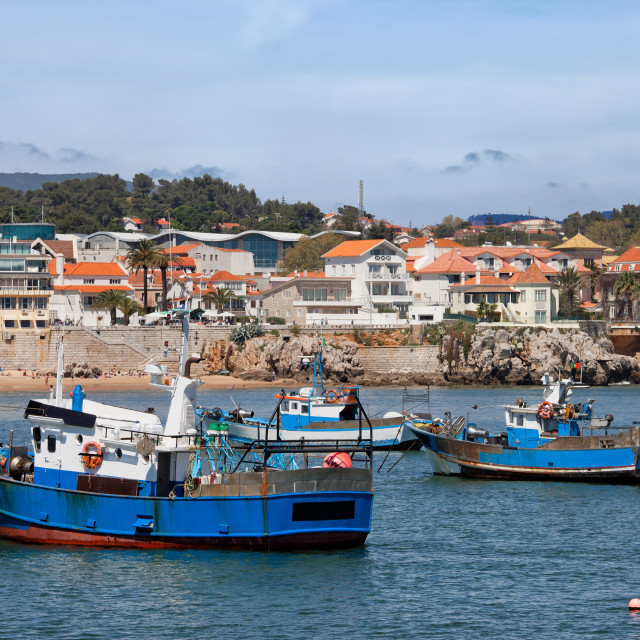 """""""Fishing Boats in Cascais"""" stock image"""
