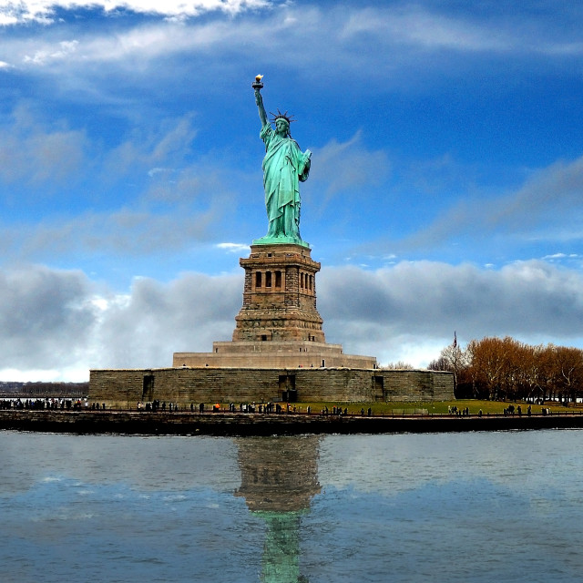 """Looking onto the Statue of Liberty"" stock image"