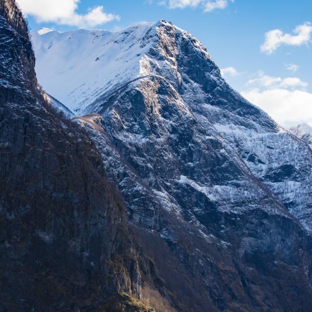 """FLAAM SAIL AWAY, MOUNTAIN RANGE, NORWAY"" stock image"