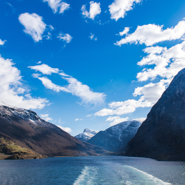 """FLAM SAIL AWAY, NORWAY, FJORDS"" stock image"