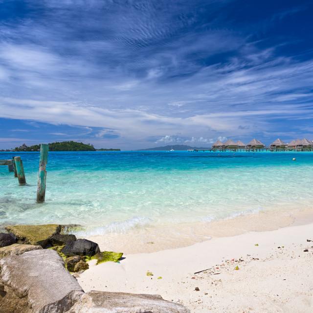 """Bora Bora Bures Matira Point Tahiti"" stock image"