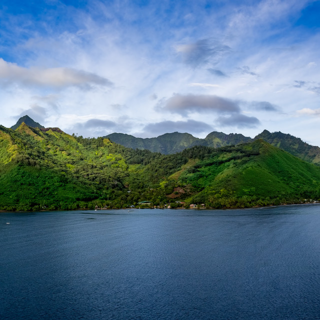 """Coastline of Moorea Tahiti Panorama"" stock image"