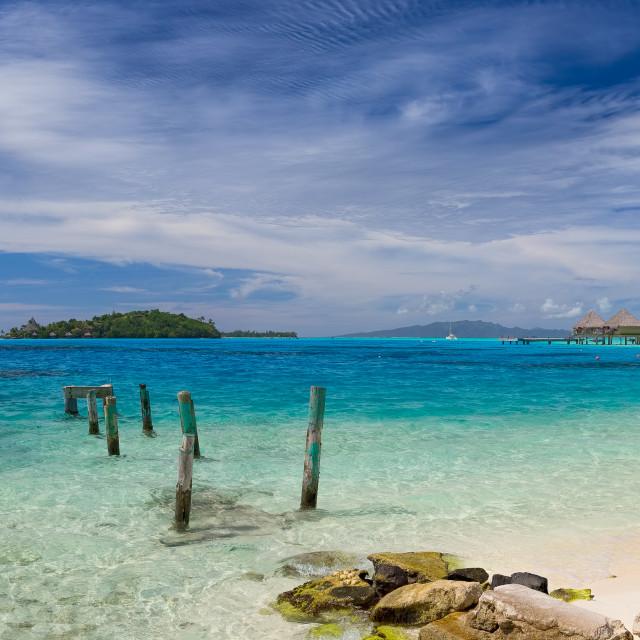 """""""Island Life Bora Bora Tahiti Panorama"""" stock image"""