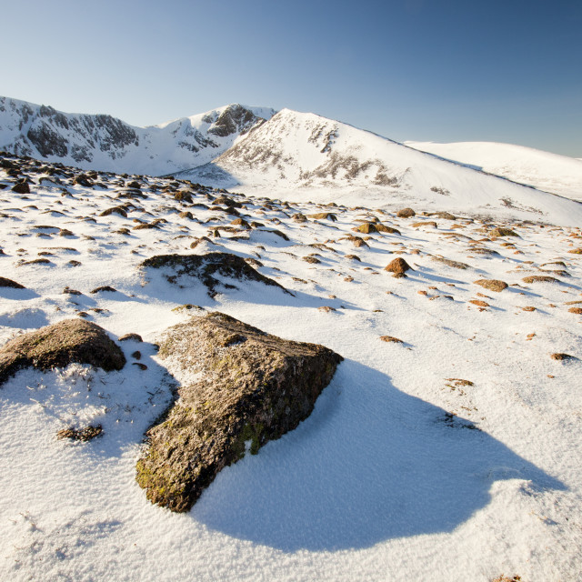 """""""Looking into Coire an Sneachda on the Cairngorm mountains, Scotland, UK, in..."""" stock image"""