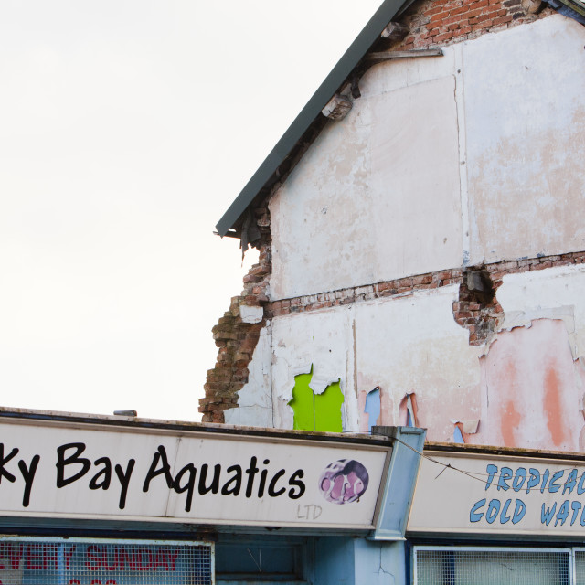 """""""A derelict shop in Loughborough, leicestershire, UK."""" stock image"""