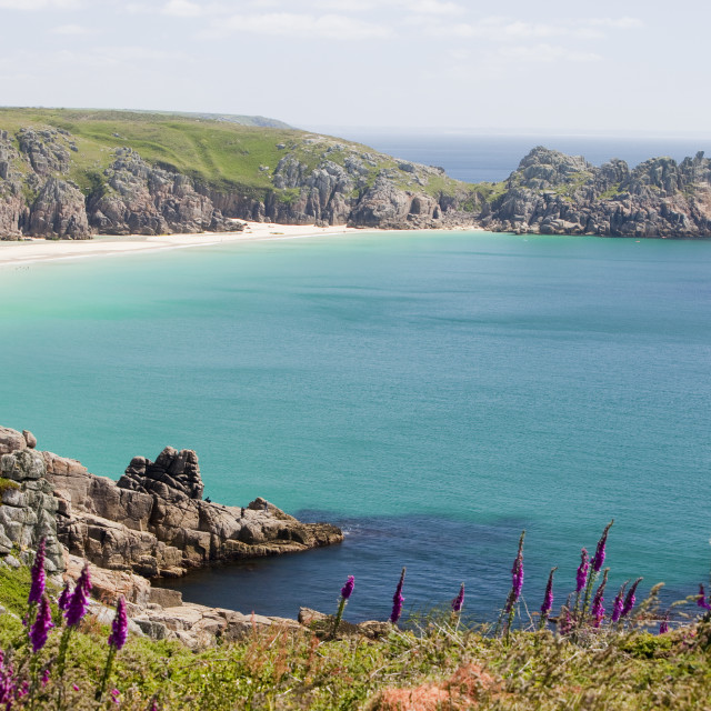 """Porthcurno Beach in West Cornwall, UK."" stock image"