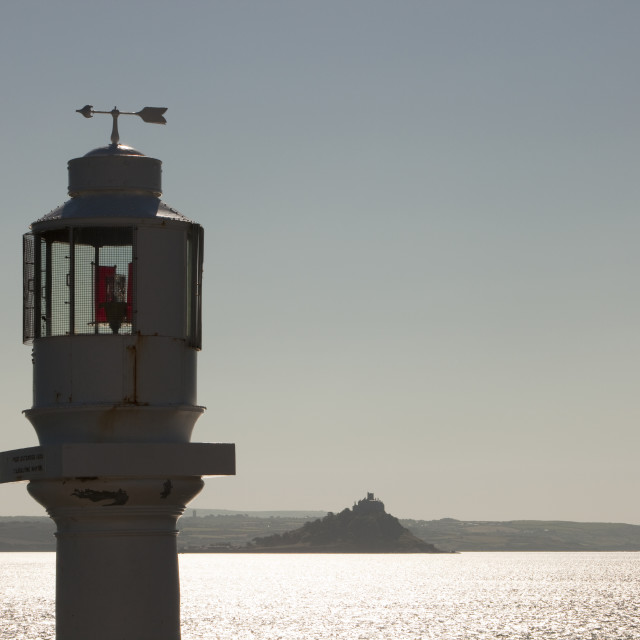 """""""St Michaels Mount from a light on Penzance Harbour, Cornwall, UK."""" stock image"""