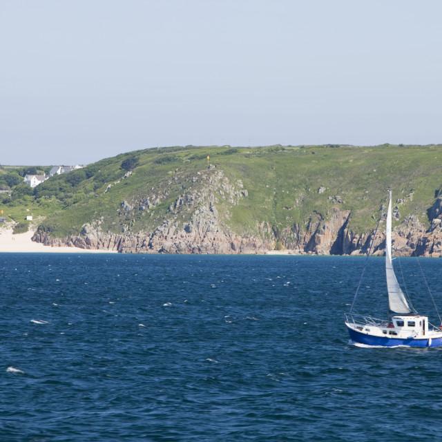 """A sailing boat of the Cornish coast near Penzance, UK."" stock image"