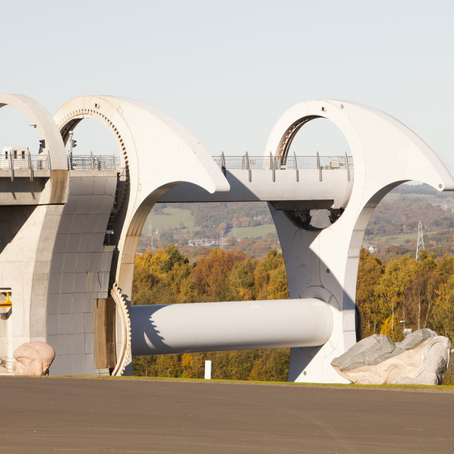 """""""The Falkirk Wheel at Falkirk in Scotland UK. It is a unique rotating boat..."""" stock image"""