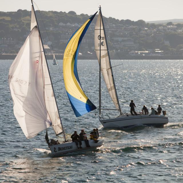 """""""Small sailing boats racing off Penzance, cornwall, UK."""" stock image"""