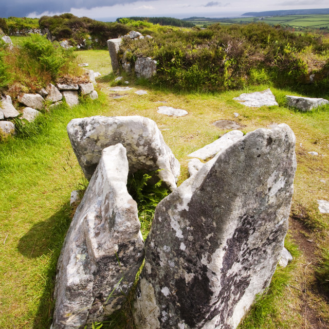 """""""The ancient Chysauster settlement near Penzance in Cornwall, the best..."""" stock image"""
