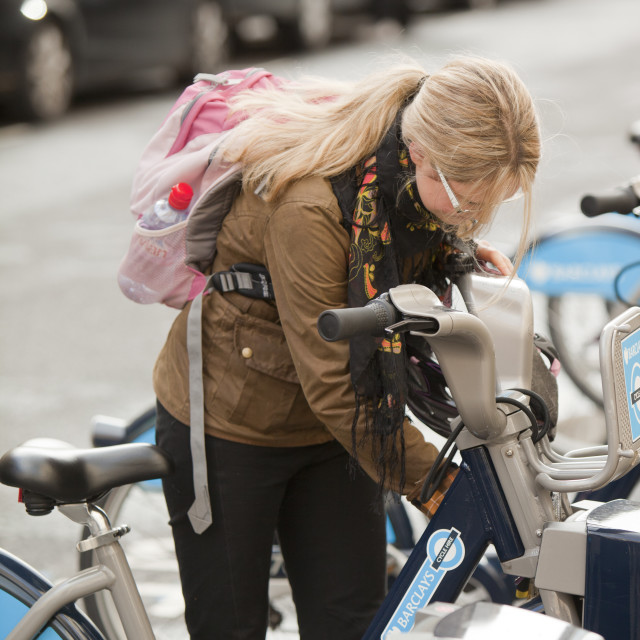 """""""Barclays Cycle Hire scheme, or Borris Bikes, part of a green initiative by..."""" stock image"""