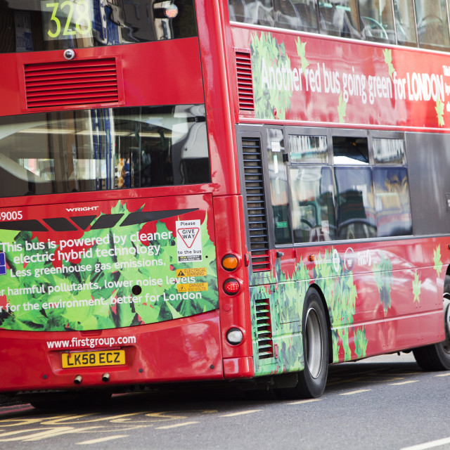 """An electric hybrid technology bus in London. Part of Transports for London's..."" stock image"