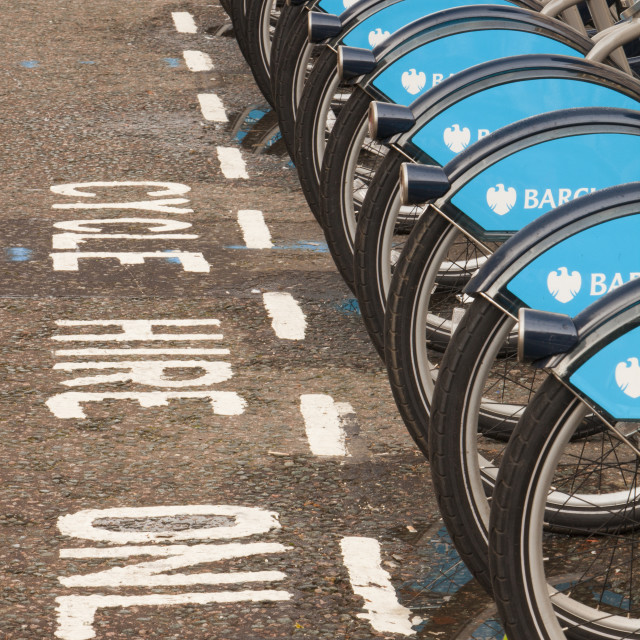 """Barclays Cycle Hire scheme, or Borris Bikes, part of a green initiative by..."" stock image"